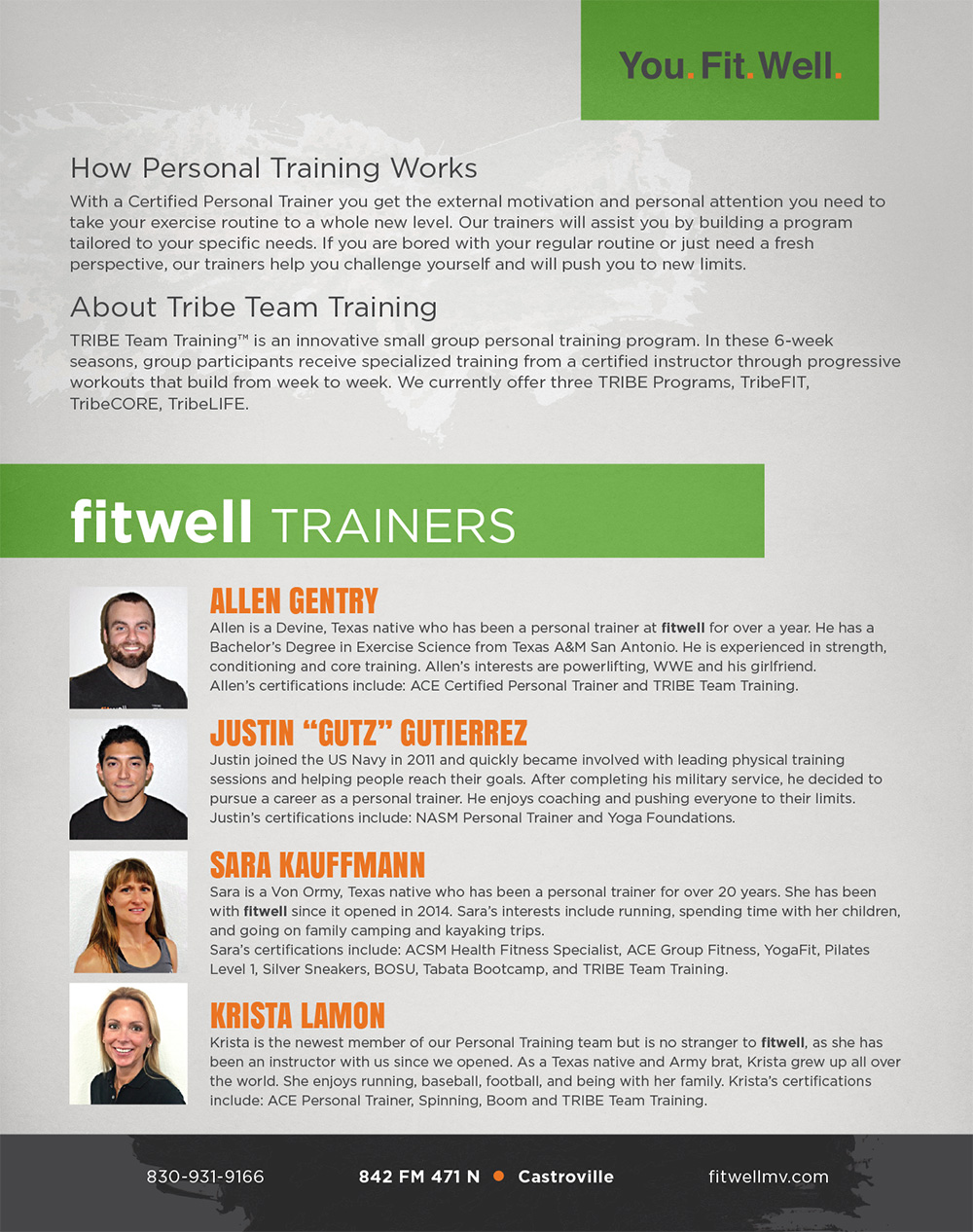 Fitwell Personal Training Onesheet Carrie D Lewis Graphic Design